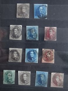 """Belgium 1849/1861 - Composition Leopold I """"épaullettes"""" and """"médaillons"""" - between OBP 1 and 12"""