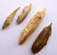 Lot with 4 Early Neolithic drills 57 - 104 mm