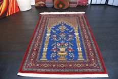 Hand-knotted original Persian carpet, oriental Qom, cork, fine knotting, over 650,000 knots, approx. 150 x 103 cm.
