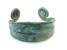 Medieval Viking period Bronze Bracelet with Coiled Terminals - 58 mm (inner diameter)