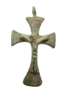 Medieval Cross Pendant Depicting Crucified Jesus Christ - 49x27 mm