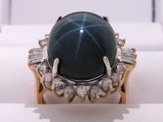 Certified gold cocktail ring with star sapphire and diamonds. 22.39 ct, **No Reserve Price**