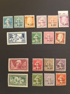France 1927/1931 - The complete series of 'Au profit de la Caisse d'Amortissement' stamps - Yvert no. 246 to 256, 266 to 269, and 275 to 277