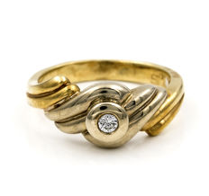 Yellow gold 18 kt - Cocktail ring - Diamonds 0.10 ct - Cocktail ring size 12 (Spain)