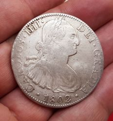 Spain - Carlos IV, 8 silver Reales, Mexico 1802 - 40 mm / 26.9 gr