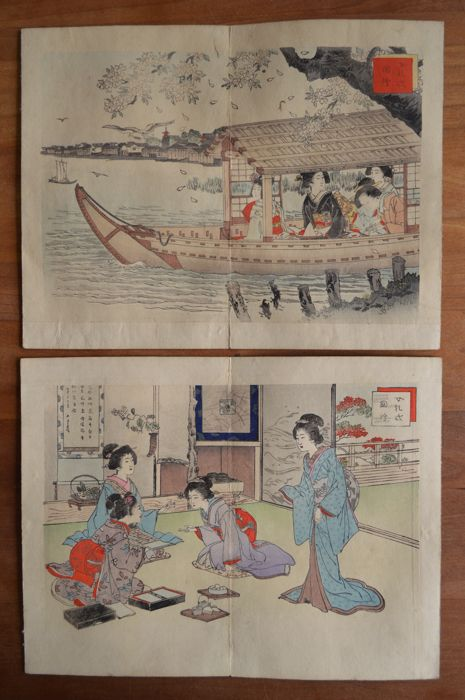 "Two original woodblock prints by Adachi Ginkō (act. ca 1870-1908) - ""Pictures of woman's etiquette"" - Japan - 1887"