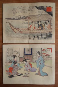 """Two original woodblock prints by Adachi Ginkō (act. ca 1870-1908) - """"Pictures of woman's etiquette"""" - Japan - 1887"""