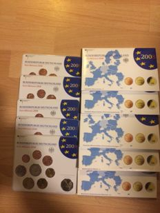 Germany - year packs (BU and Proof) 2008A, D, F, G, J incl. 2 euro St. Michaelis-Kirche (10 pieces in total)
