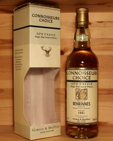 Benrinnes 1991 Single Malt Scotch Whisky, Old Map Label, 43% 70cl, Gordon & MacPhail