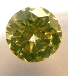 0.68 Ct. Naturel Fancy Intense Greenish Yellow / SI1, Diamamant/Brillantschliff