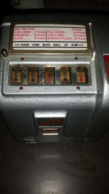 ACE poker 5 reel poker trade stimulator gumball payout, rare in this condition