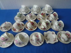 Lot with English porcelain cups, saucers and ashtray, 33 pices, Royal Albert, Royal Kendal, Royal Graftan, Elizabethan etc