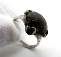 Saxon Era Silver Ring with black Stone - 18 mm