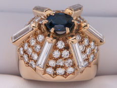 Certified gold cocktail ring with sapphire and diamonds. 4.14 kt, **No Reserve Price**