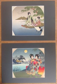 Two uchiwa-e (団扇絵) lithographs with images of women in a beautiful setting – partly blind press – Japan – ca. 1920