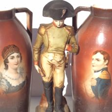 A set of vases with Napoleon and Josephine and a biscuit figure of Napoleon - France  – 1st half 20th century