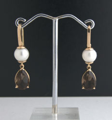 14k gold earrings with Smokyquartz and pearls  ***no reserve price***