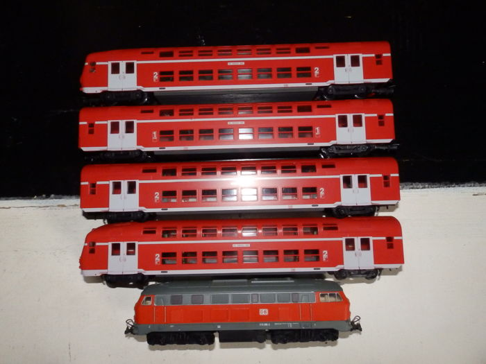 Piko/Lima H0 - diesel locomotive V218 and 2x double-decker wagon and 2x control car van de DB