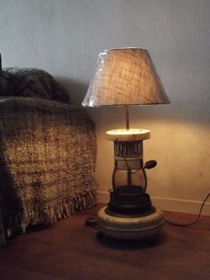 Haller Saffire petroleum heater, transformed into rural / industrial lamp. around 1950, The Netherlands