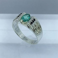 Apatite 1.20ct mens ring in 925 silver - size 10.5