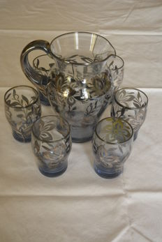 Rare 7-piece set of silver decorated glass