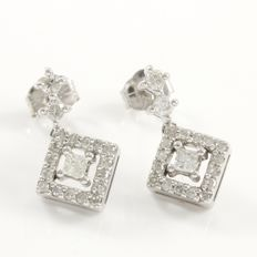 14k White Gold Earrings Set with 0.40 ct Diamonds - 15 mm long  - no reserve