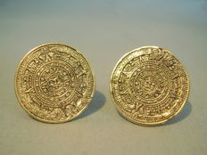 Vintage cufflinks with Aztec calendar display, Mexico around 1950