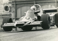 B & W period Photograph 1977 Monaco grand prix Winner Jody Scheckter Wolf Racing Michael Hewett Photographer