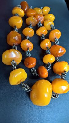 Antique Amber beads necklace, 93 gr.