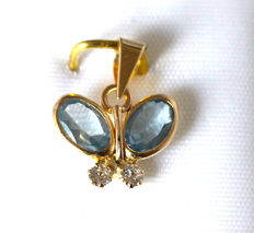 14 kt  Yellow Gold Cataleya Jewels Pendant, Butterfly with Aquamarine and Zirconia, 10 mm x 12 mm