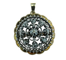 Solid silver and gold antique Victorian pendant full of rose cut diamonds