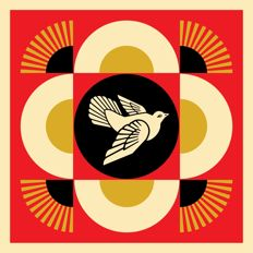 Shepard Fairey - Peace  Dove  Geometric red