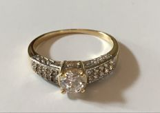 14K  Solid  yellow  Gold Ring Created Moissanite  - US size 7.5