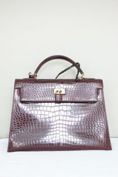 Hermès - Kelly 32 Crocodile Leather - Borsa a mano, Vintage in Excellent condition