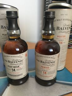 2 bottles - Balvenie 14 Peated Triple Cask and The Balvenie 14 Peat Week (2002 vintage)