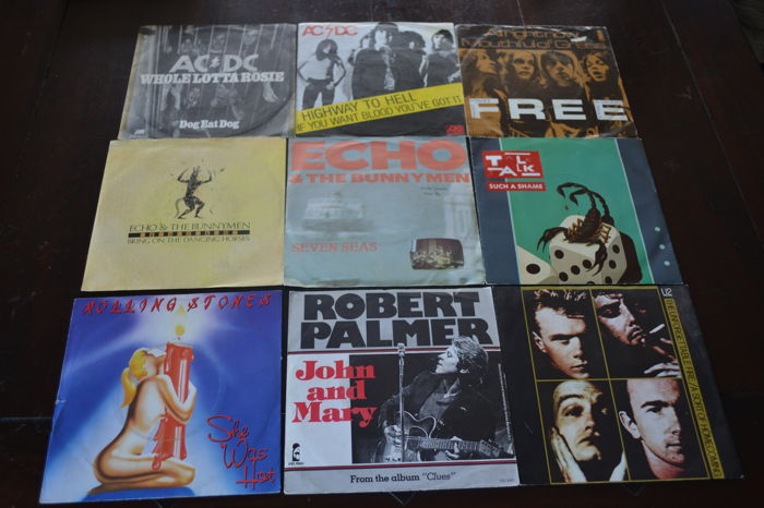 38 Rock and hardrock singles from the seventies and eighties in EX till NM qaulity!!