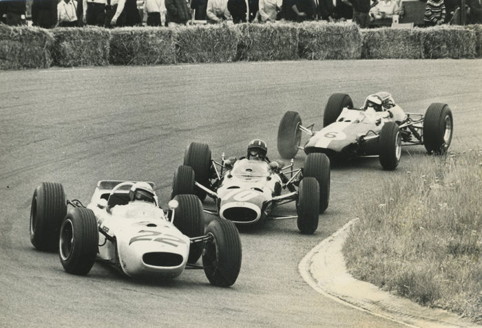 Period black and white photograph John Surtees Honda  Graham  Hill BRM and Jim Clark Lotus