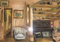 Ronnie Wood (born 1947) - original - interior with piano -