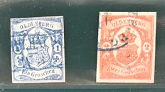 Germany Oldenburg 1861 - 1 and 2 gross with BPP approval mark - Michel 12/13