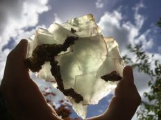 Beautiful semi-transparent Fluorite crystals with Golden Baryte crystals  - 9 x 8 x 3,5 cm - 343 gm