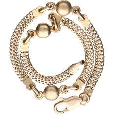 24 kt - Yellow gold two-strand fantasy curb link bracelet - Length: 19 cm