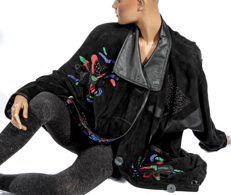 Top preserved condition Vintage Luxury Suede leather jacket, embroidered patent leather, butter soft jacket