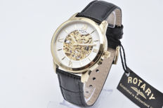 Rotary Automatic Gold Skeleton with 18 kt gold-plated case and leather strap