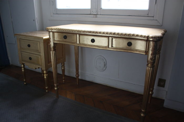 Name of the designer unknown - Gilded table set (bedside tables + console)