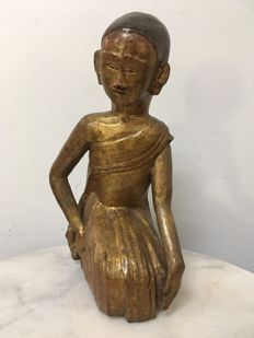 Wooden Gilt kneeling Nun - Burma - 19th century (Mandalay period)