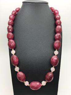14K yellow gold – bold and heavy necklace with faceted ruby rose quartz natural gemstones weight: 515ct – no reserve price