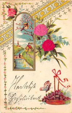 Very old relief cards 29 x - mainly with silk flower - early 1900