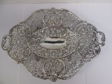 Chinese sterling silver reticulated large shallow dish, Wang Hing, early 1900's