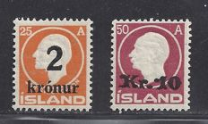 Iceland 1925 - Overprints on Jon Sigurdsson - Michel 119/120