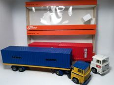 "Tekno-Holland - Scale 1/43 - Lot with 2 Scania 141: Inscription ""Scania"" & Opschrift  on tractor ""TMT"""